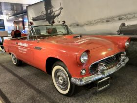 why-is-there-a-vintage-thunderbird-on-the-second-floor-of-mccarran-airport?