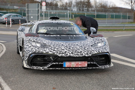 mercedes-benz-amg-one-spy-shots:-hypercar-breaks-down-on-its-way-to-the-'ring