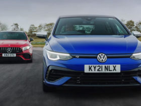 vw-golf-r-and-mercedes-amg-a45-s-engage-in-a-drift-battle