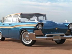 the-artist-presented-the-tesla-model-s-electric-car-of-the-1957-model
