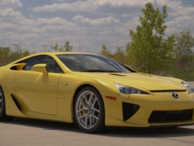 pearl-yellow-2012-lexus-lfa-with-72-miles-never-left-dealership,-for-sale-on-bring-a-trailer