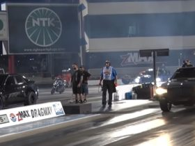 26-in-1987-box-chevy-drag-races-9s-hellcat-and-lady's-cts-v,-it's-way-too-close