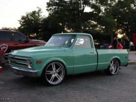 """""""new""""-mint-green-chevy-c10-looks-properly-donk-on-modern-24-inch-forgiatos"""