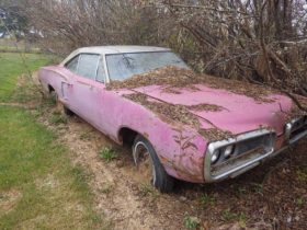 panther-pink-1970-dodge-coronet-was-left-to-rot-in-the-woods,-gets-second-chance