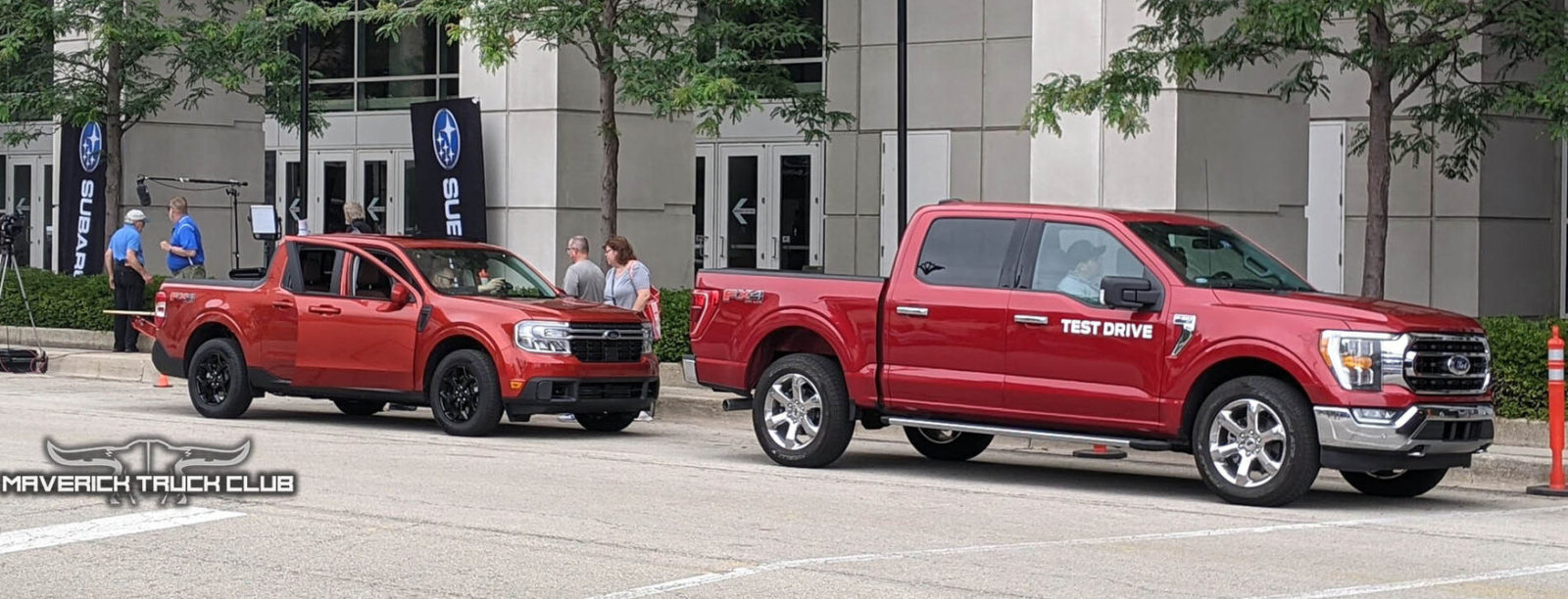spotted-2022-ford-maverick-and-f-150-show-crimson-paint-and-size-differences