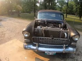 1955-chevrolet-bel-air-gets-unusual-turbo-swap,-goes-cruising-without-the-hood