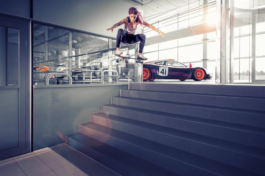 x-games-gold-medalist-visits-mclaren,-she-jumps-impressed-by-priceless-exhibits