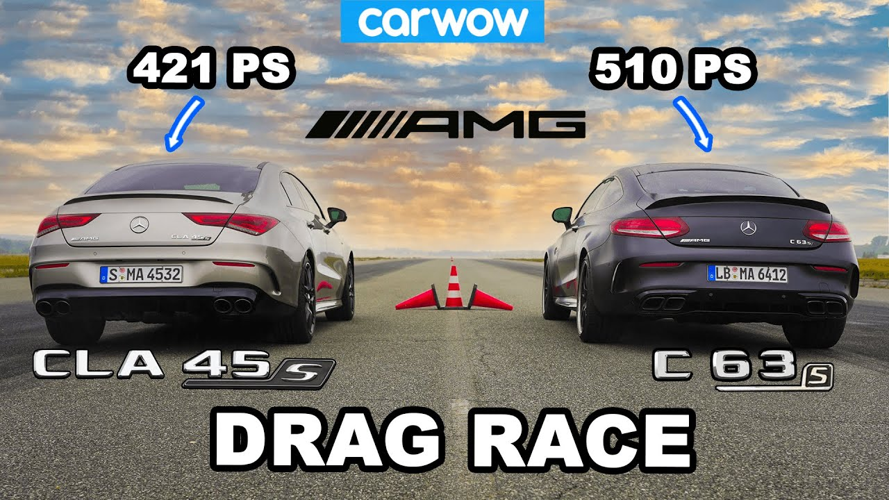 mercedes-amg-cla-45-s-vs-c-63-s-drag-race-seems-to-defy-odds-until-you-notice-one-thing